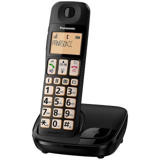 Panasonic KX-TGE110JTB Black Telefono Cordless di Facile Utilizzo 3 Tasti Memoria