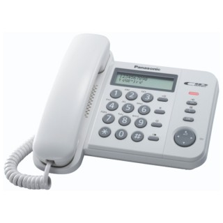 Panasonic KX-TS560EX1W White Telefono Fisso  Display LCD Rubrica ID Chiamante
