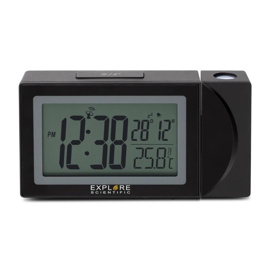 ExploreScientific RDP1002 Black Orologio Proiezione Doppia Sveglia Data Temperatura Ricarica USB