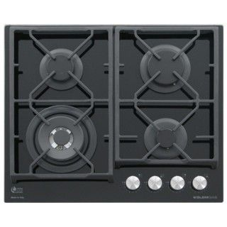 GlemGas GV64TXBK Vetro Nero Piano Cottura Gas 60cm Total Flame Control Griglie Ghisa
