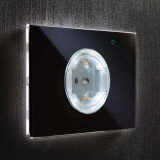 iotty OSWITB Black Presa Elettrica Vetro Touch Smart Wi-Fi Controlli Vocali