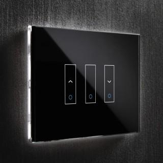 iotty LSWI3SB Black Interruttori 2 UpDown 1 OnOff Vetro Touch Smart Wi-Fi Controlli Vocali