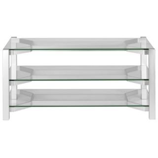 Harmony 9 Scansonic Silver Tavolino TV Metallo 3 Mensole Vetro L120 x P50 x A50